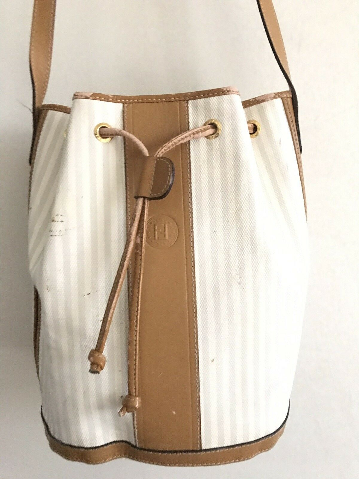 FENDI Vintage White/ Grey Bucket Bag