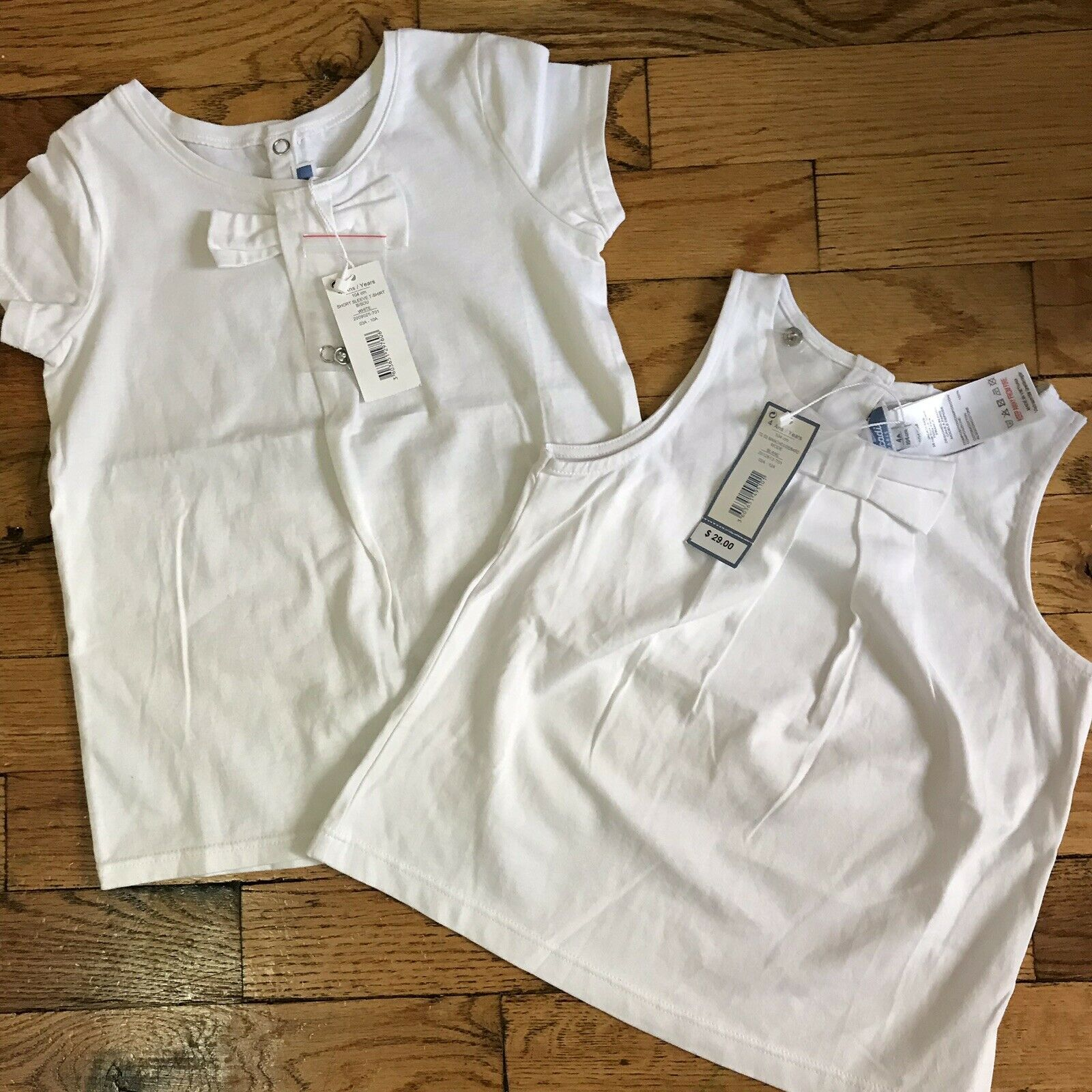NWT! Lot Of 2 JACADI White Cotton Tops 4 Yrs