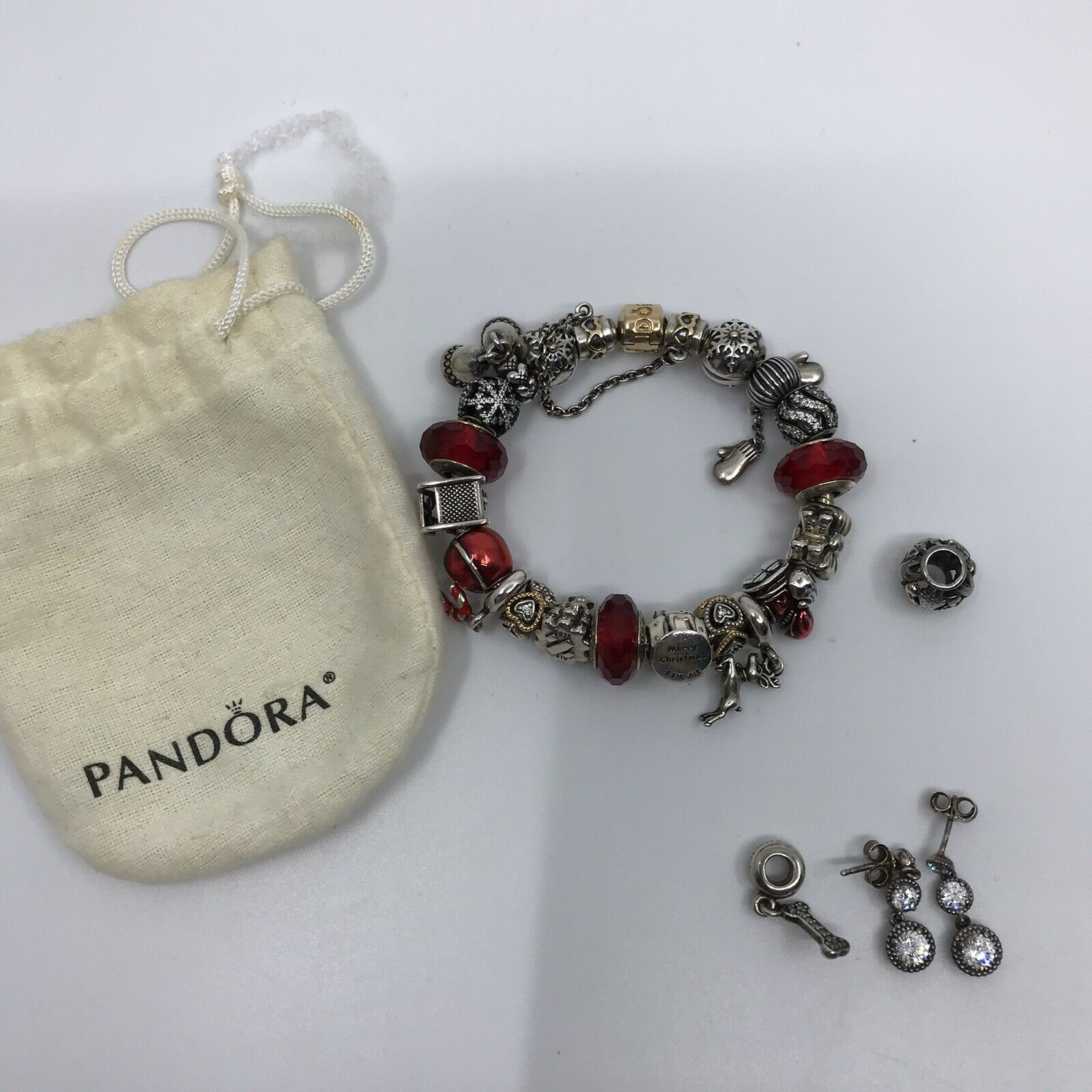 PANDORA Bracelet w/ Charms and Earrings