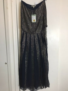 ROSA CHA Strapless Beaded Navy Long Gown size 2