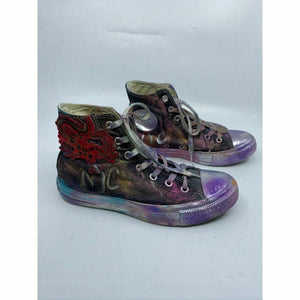 Converse Sneakers Customized with Black Silver Purple Graffiti Women's Size 8