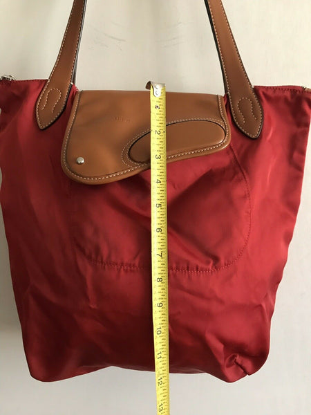RALPH LAUREN Extra Large Red Nylon Tote With Leather Detail