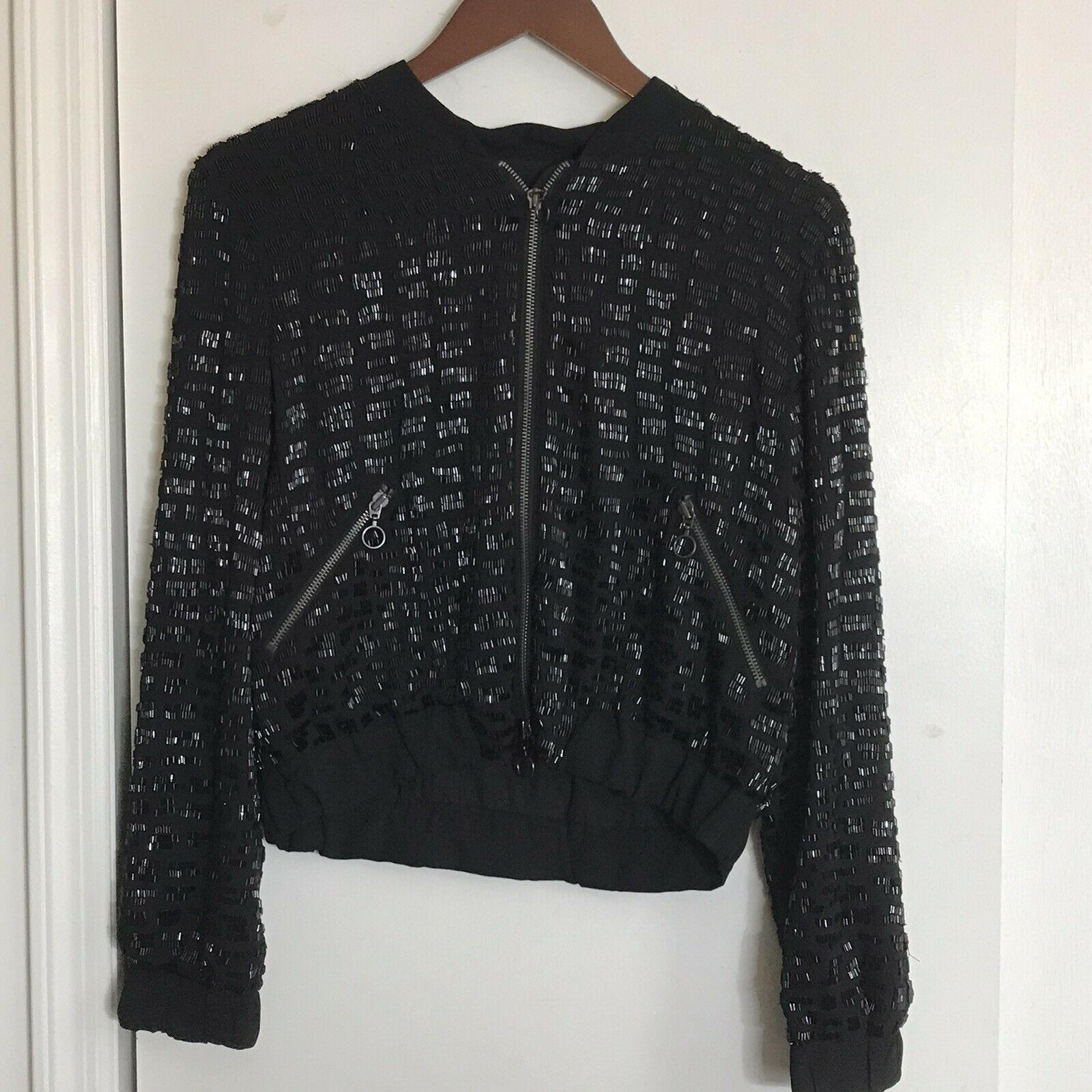 ROSA CHA Black Beaded Bomber Jacket size Small