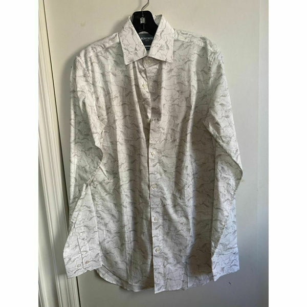 BONOBOS Gray White Printed Long Sleeve Button Down Shirt Size M