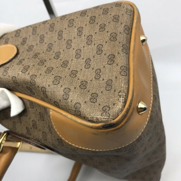 GUCCI Vintage Boston Bag Brown Coated Canvas