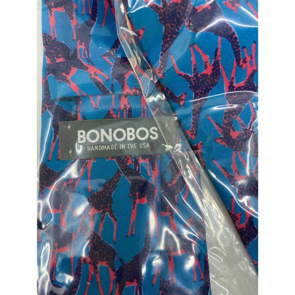 New! BONOBOS Blue Pink Animal Print Neck Tie Msrp 95