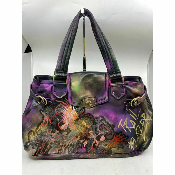 MARC JACOBS Large Leather Tote Bag Customized w Dragon Applique and Multi Color