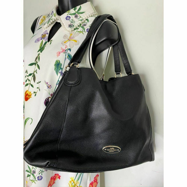 Coach Black Leather Classic Tote Bag Multiple Compartments