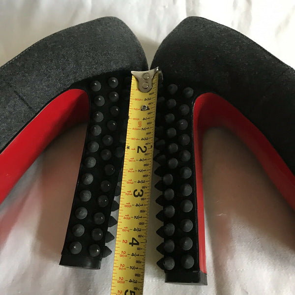 CHRISTIAN LOUBOUTIN Grey Denim Classic Pumps W/ Heel Spikes On Heels 36.5