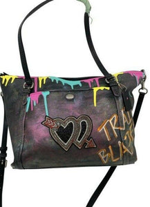 coach w hand customized by me street art black and multi color tote