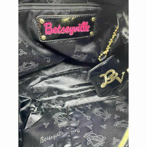 BETSEY JOHNSON Faux Leather Multicolor Embellished Tote Bag