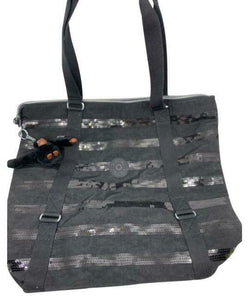 KIPLING XL Fabric Tote Bag Gray Silver