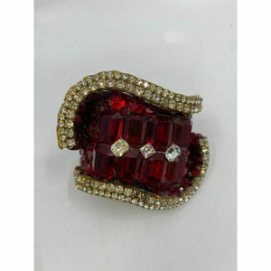 Rare! WENDY GELL Signed 1983 Red Be jewelled Cuff Bracelet