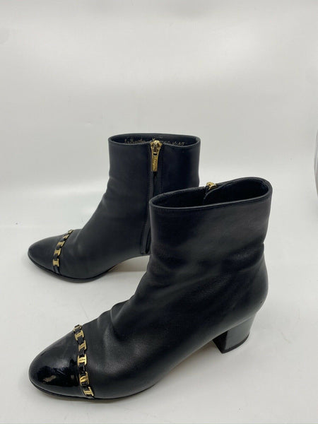 Msrp$730 SALVATORE FERRAGAMO Booties W/ Gold signature Chain Link Detail Size 6