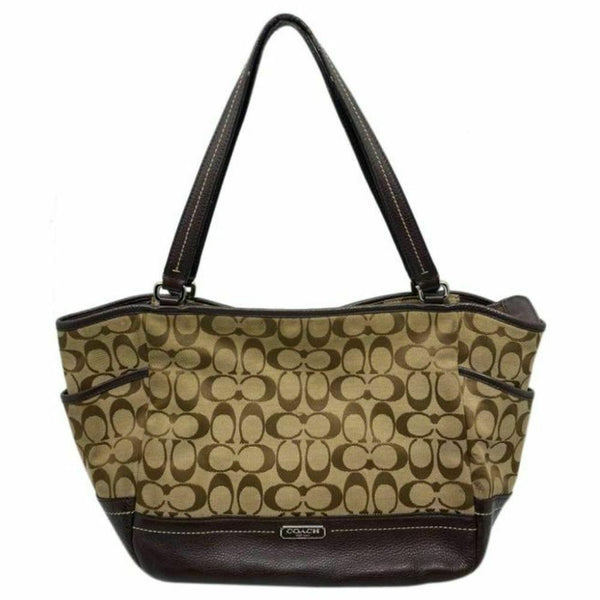 COACH Medium/Large Jacquard Fabric Signature Brown Tan Tote Bag