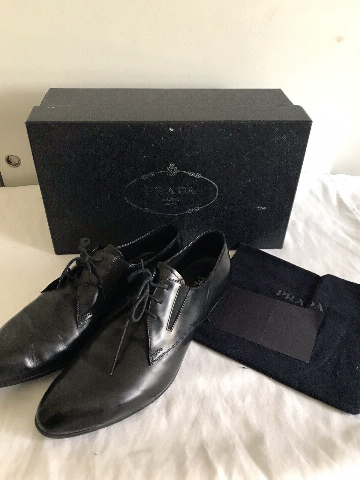 Prada Black Smooth Leather Oxfords