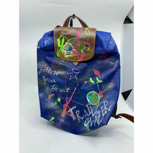 Longchamp Blue Backpack Customized W/ Multicolor Trailblazer Graffiti