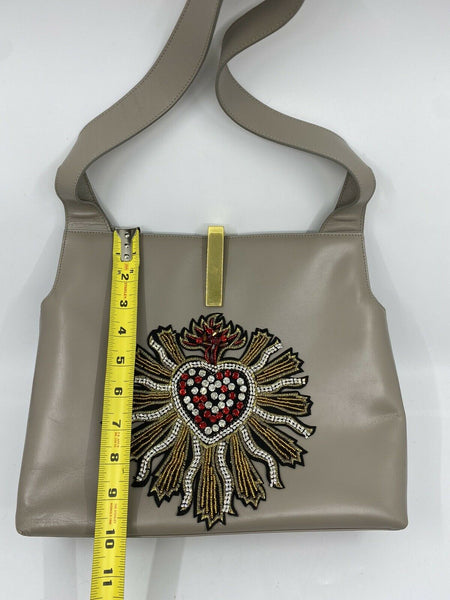 GUCCI Vintage Leather Shoulder bag Customized W/ Divine heart Applique