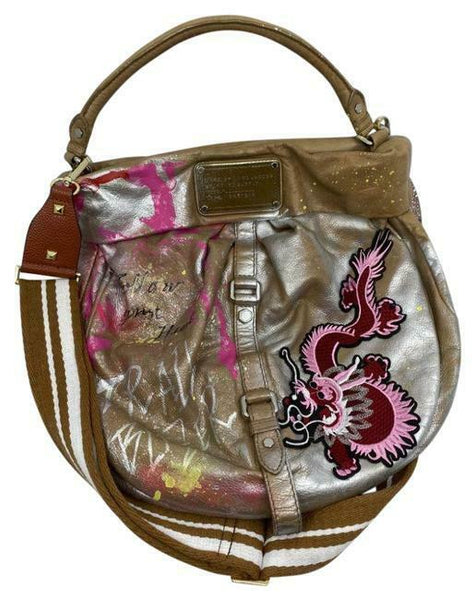 MARC JACOBS Large Tote Bag Customized w/ Lucky Dragon Patch And Graffiti Brown