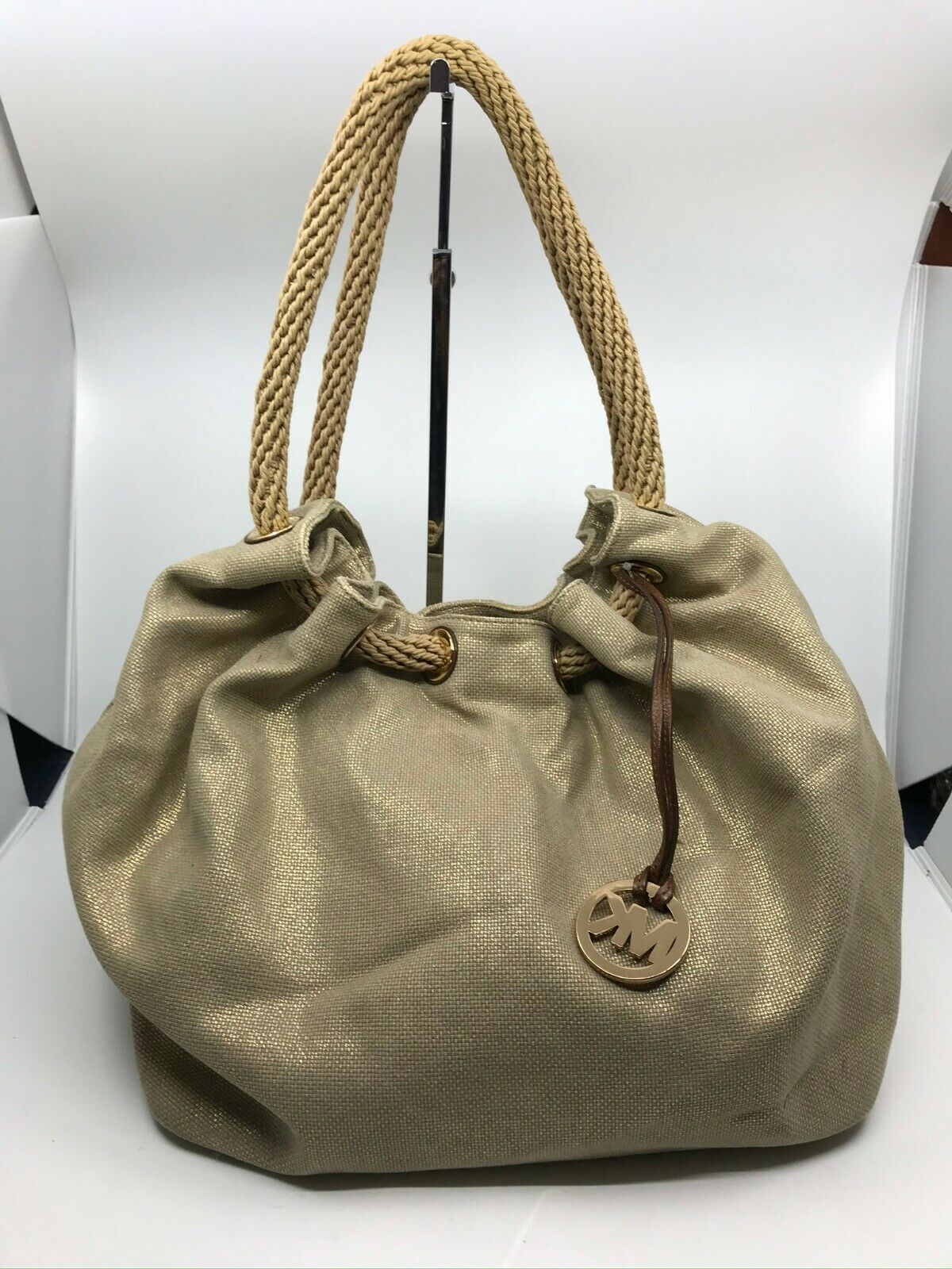 Michael Kors Large Woven Straw Fabric Tote Bag