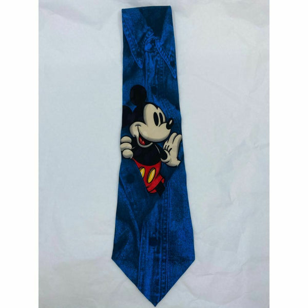 New! MICKEY MOUSE Disney Neck Tie Blue 100% Silk Handmade
