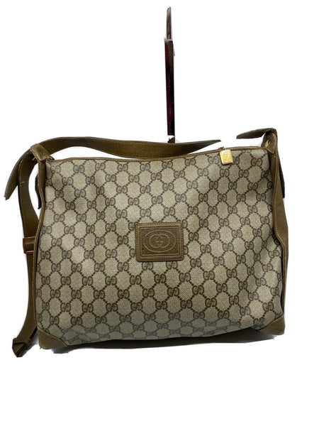 GUCCI Vintage Brown Coated Canvas/ Leather Shoulder Bag