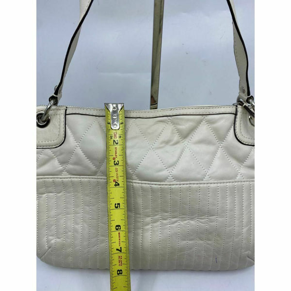 Coach Leather Shoulder Bag White Customized with Crystal Applique