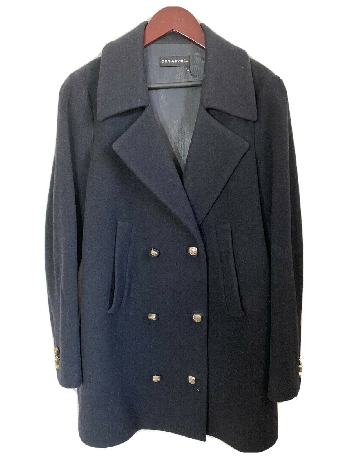 SONIA RYKIEL Black Wool Pea Coat Size 36/ Small