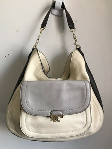 TORY BURCH Grey/ Beige Leather Hobo Bag