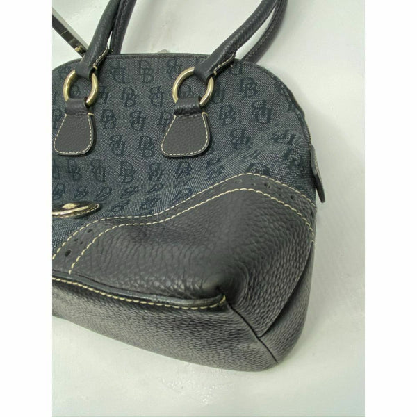 Dooney & Bourke Over Signature Fabric Size M Gray Black Shoulder Bag