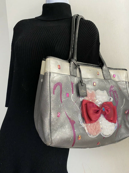 Kate Spade Large Leather Tote Customized With Cat Applique And Graffiti