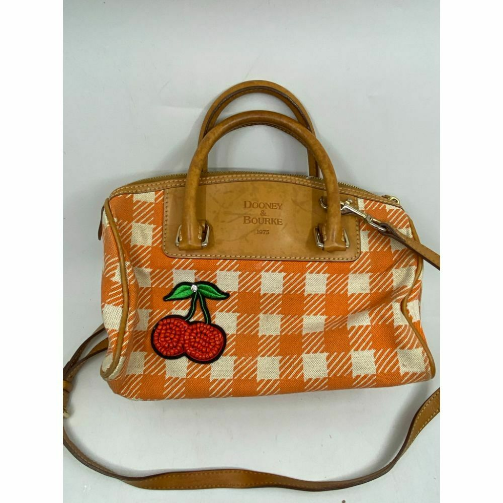 DOONEY & BOURKE Orange White Tan Tote Crossbody Bag Customized w/ Applique