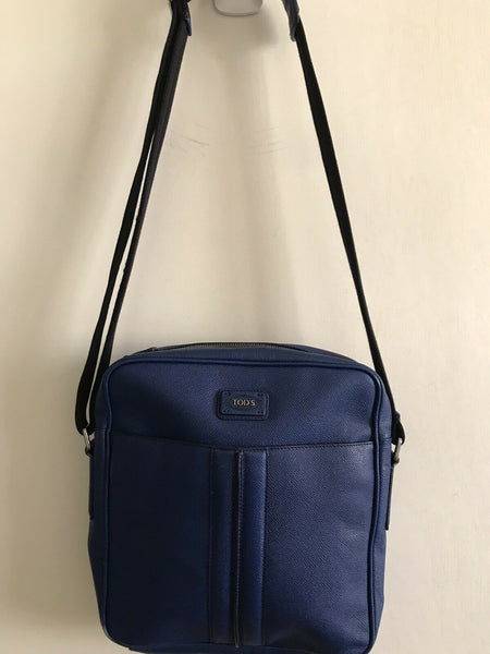 TOD'S Blue Saffiano Leather Crossbody Bag