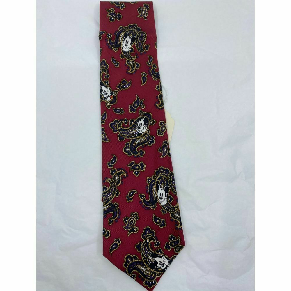 MICKEY MOUSE Disney Neck Tie Red Black Hand Made 100% Silk