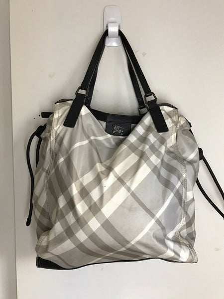 BURBERRY Grey  Plaid nylon tote Bag Classic