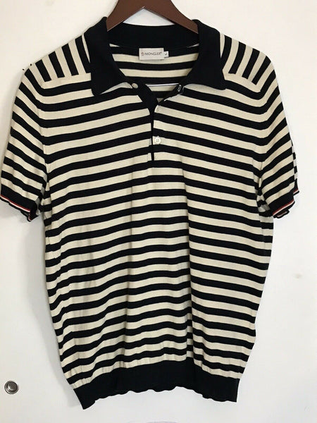 MONCLER Men's Striped Polo Shirt sz L