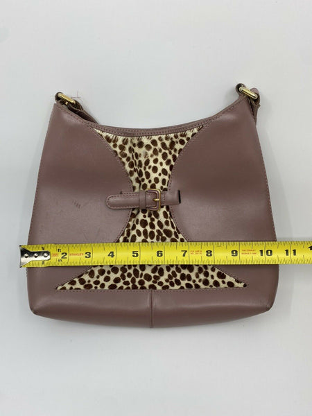 FURLA Pink Leather Animal Print Fur Contrast Handbag