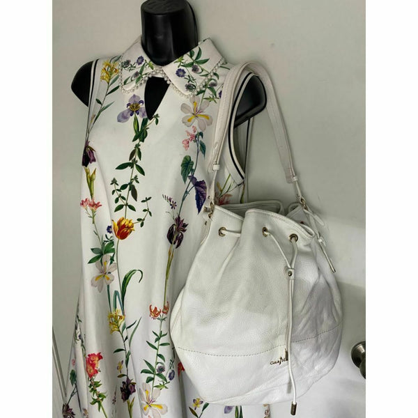 COLE HAAN White Large Leather Tote/ Shoulder Bag