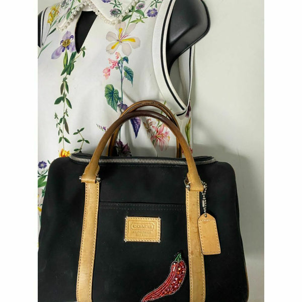 Coach Leather Hand/ Tote Bag Black Customized with Crystal Applique
