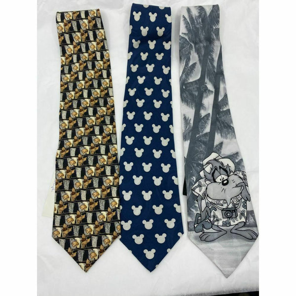 New Lot of 3 Neck tie Disney, Looney Tunes Blue Black White Total Msrp 75