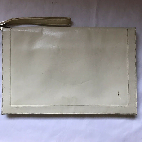 Vintage White Leather Clutch Bag Lou Taudor