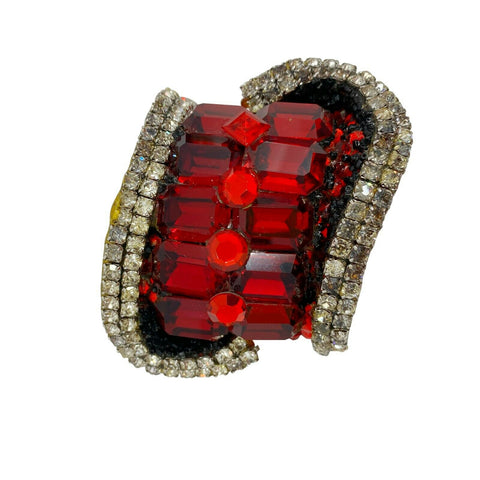 Rare! WENDY GELL 1985 Signed Red Be Jeweled Cuff Bracelet