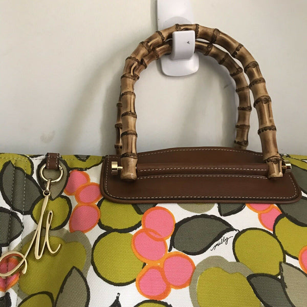 MILLY XL Printed Canvas Tote With Bamboo Handle Msrp $300