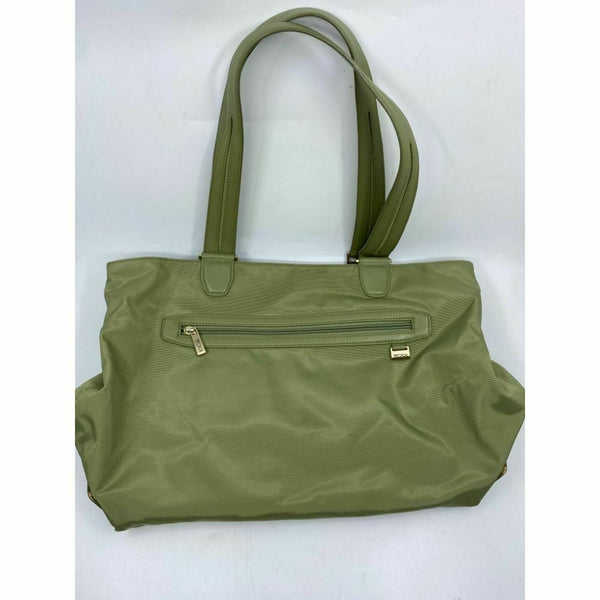 TUMI Green Nylon Tote Bag Large Size w/ Leather Trim Good Condition