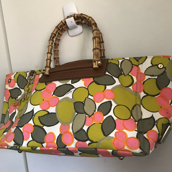 MILLY XL Printed Canvas Tote With Bamboo Handle