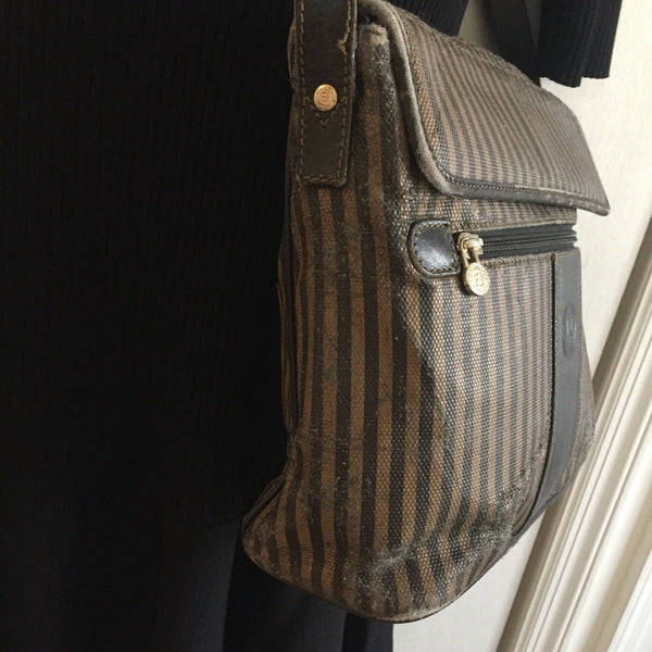 Vintage FENDI Brown/ Mahogany Stripe Flap Crossbody Bag