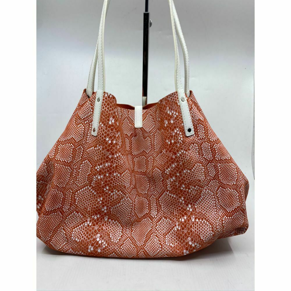 $695 Tiffany & Co. Reversible Large Tote Bag Orange Suede and Snake Print Design