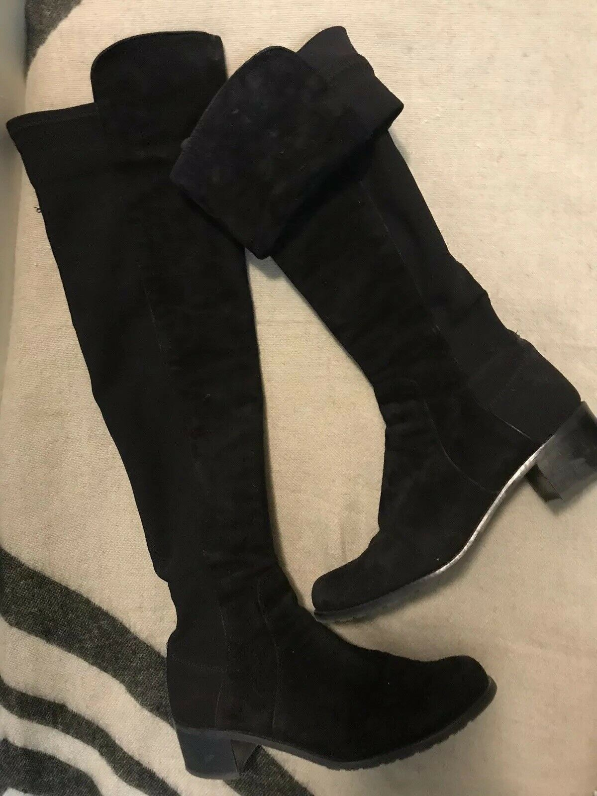 Stuart Weitzman Allserve Black Suede Over The Knee Boots Size 6.5M Msrp $695