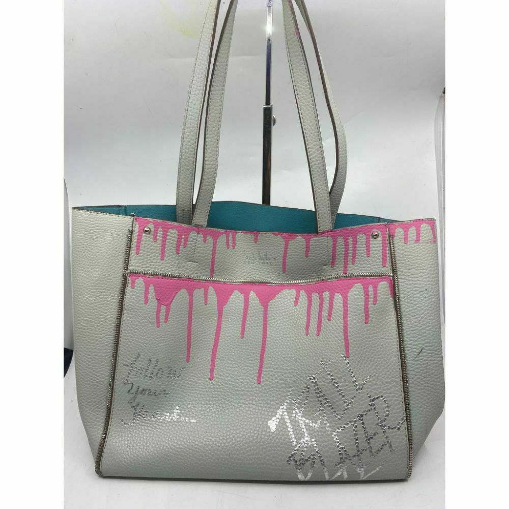 hicole hiller Leather Handbag Customized W Graffiti Gray Pink Ombré
