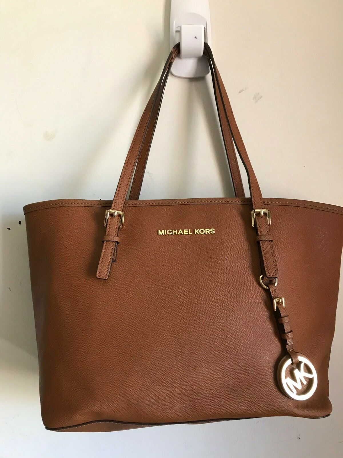 Michael Kors Saffiano Leather Tote Shoulder Bag - Tan